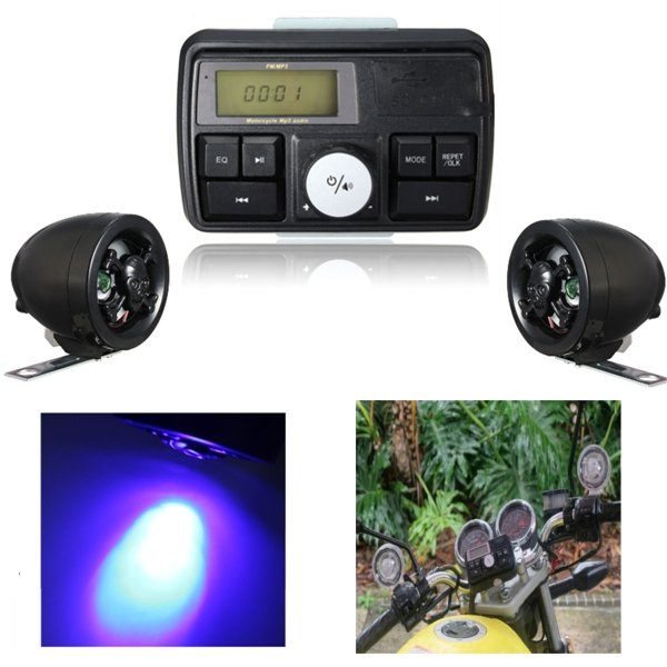 Motorcycle Waterpoof USB SD Audio FM MP3 Stereo Amplifier Alarm System Skull Speaker