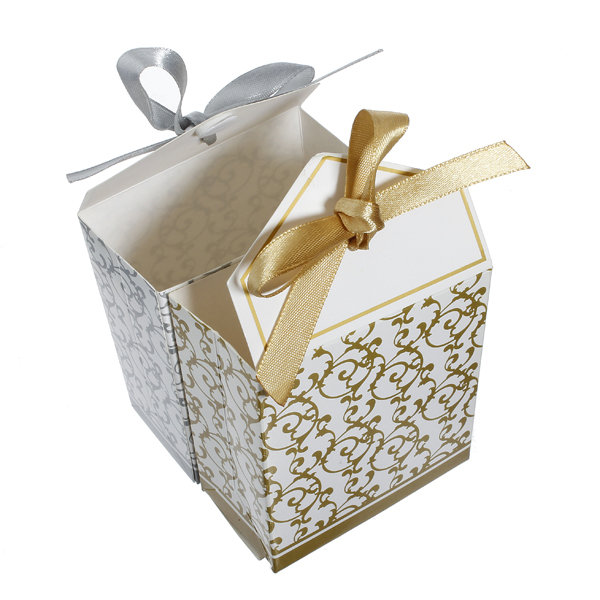 Gold Wedding Gift Box : ... 100pcs Gold Silver Ribbon Wedding Party Gift Favor Candy Paper Boxes