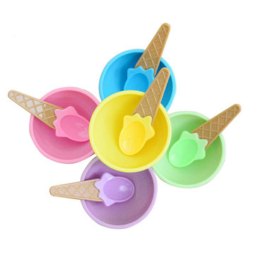 Plastic Children Ice Cream Waffle Cone Bowls Spoons Cups Set Creative Bar Tools Freezer Accessories 996236