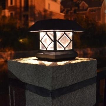 Solar led garden post cap light