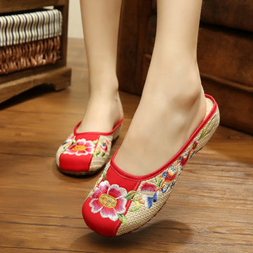 Flower Printing Mary Janes Chinese Embroidered Slip-ons Soft Sole Flat Loafers