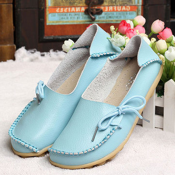 US Size 5-13 New Women Soft Comfortable Lace-Up Flat Loafers Breathable Casual Leather Flats Shoes 1036120