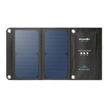 BlitzWolf® 15W 2A Foldable Portable Dual USB SunPower Solar Cell Panel Charger with Power3S