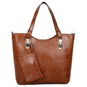 Women Second Grade Leather Tote Bags Casual Shoulder Bags Shopping Bags 2 Pcs