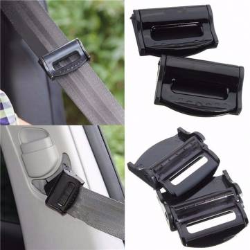 2Pcs Car Safety Seat Belt Strap Adjuster Clip Clasp for Children Black