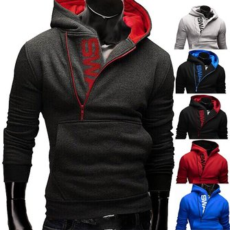 Mens Side Zipper Hoodies Mens Jersey Sports Outdoor Turn Down Collar Hooded Sweatshirts