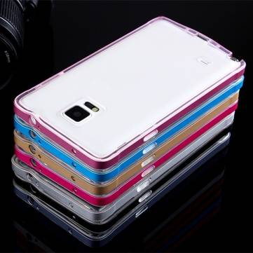 Metal Frame + TPU Clear Back Case Cover For Samsung Galaxy Note 4