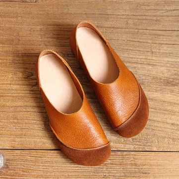 Soft Leather Slip On Pattern Match Casual Flat Shoes