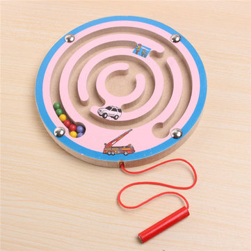 Magnetic Wooden Maze Labyrinth Game Children Ability Develop Colourful Educational Toy Gift 1046806