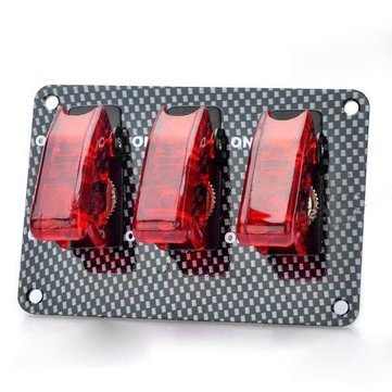 Buy Car Rocker Toggle Switch Modification Trio Carbon Fiber ON-OFF Red Light 20A 12V