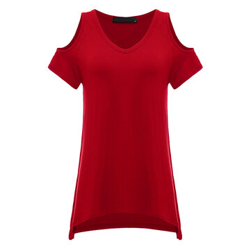 Asymmetrical Casual Pure Color Off Shoulder Short Sleeve Stretch Women T-Shirt