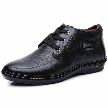 Winter Men Plush Cotton Keep Warm Comfortable Lace-Up Casual Fashion Leather Shoes