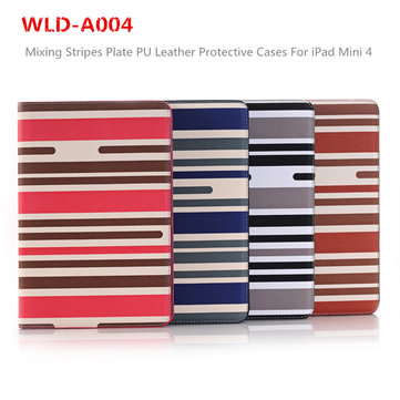 Fashion WLD A004 Mixing Stripes Plate Shell Flip PU Leather  Protective Cases Cover For iPad Mini 4