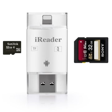 iDragon 3 In 1 TF SD Card Reader Adapter For Lightning Micro USB For iOS iPhone iPad Android Samsung PC