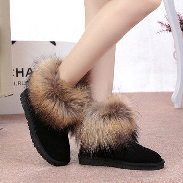 Women Warm Artificial Wool Suede Slip On Ankle Boots