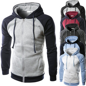 Men Sping Fall Cotton Blend Colors Patchwork Two-tone Zipper Hoodies Coat Sweatshirts