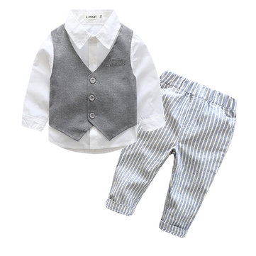 Fashion Western Style Lovely Baby Boys Striped Long Sleeve Three-Piece Suit