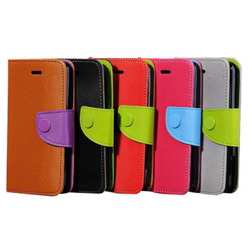 Colorful Mouse Lines PU Leather Case Wallet Flip Case  For iphone5