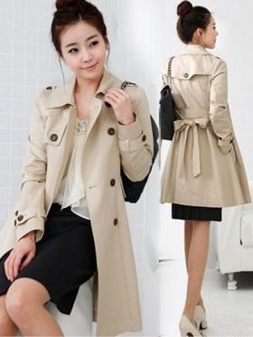 Korea Womens Peacoat Double Breasted Trench Coats Long Jacket Top