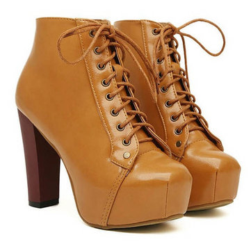 Sexy Women Platform Round Toe Thick High Heels Lace-Up Ankle Boots ...