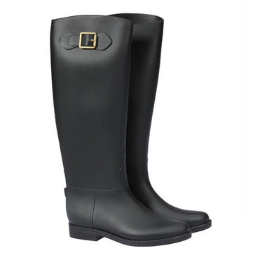 Original Women Over Knee High Flat Buckle Wellies Waterproof Rubber Rain Boots