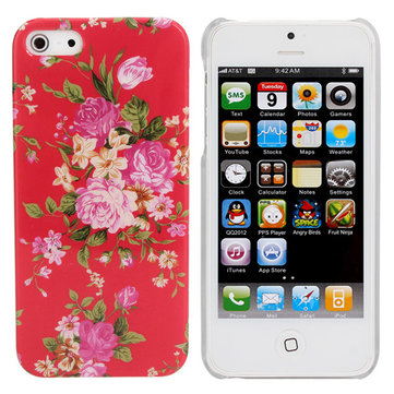 Retro Red Flower Pattern Hard Back Plastic Cover Case For iPhone 5