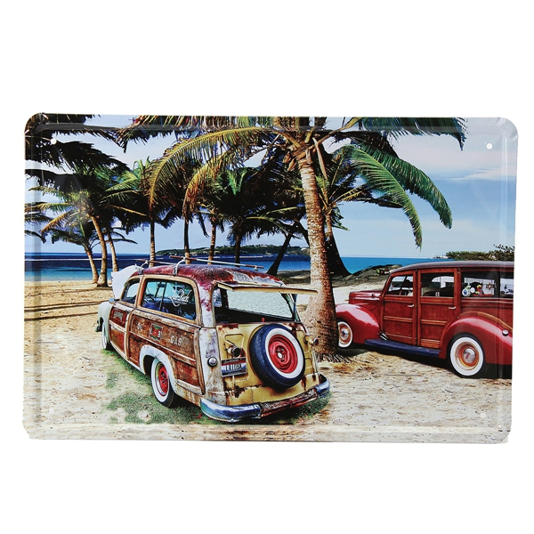 Beach Car Tin Sign Vintage Metal Plaque Poster Bar Home