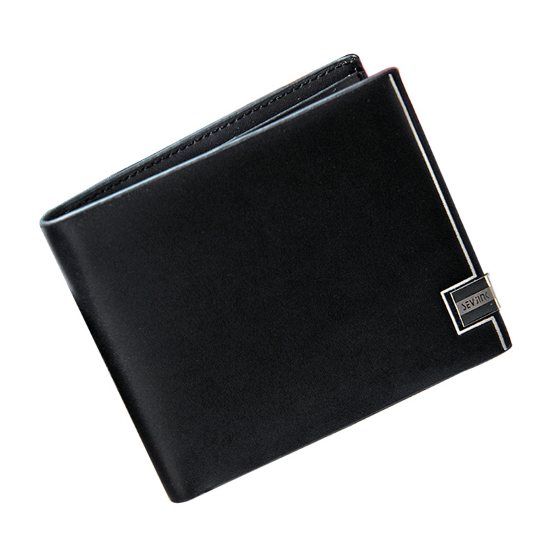 Men Bifold Student Horizontal Vertical Long Short Metal Edge Casual Wallet