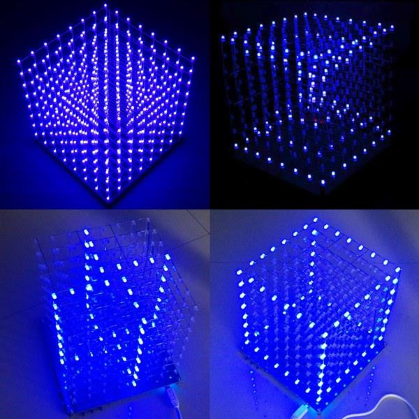Geekcreit 8x8x8 LED Cube 3D Light Square Blue LED Elect