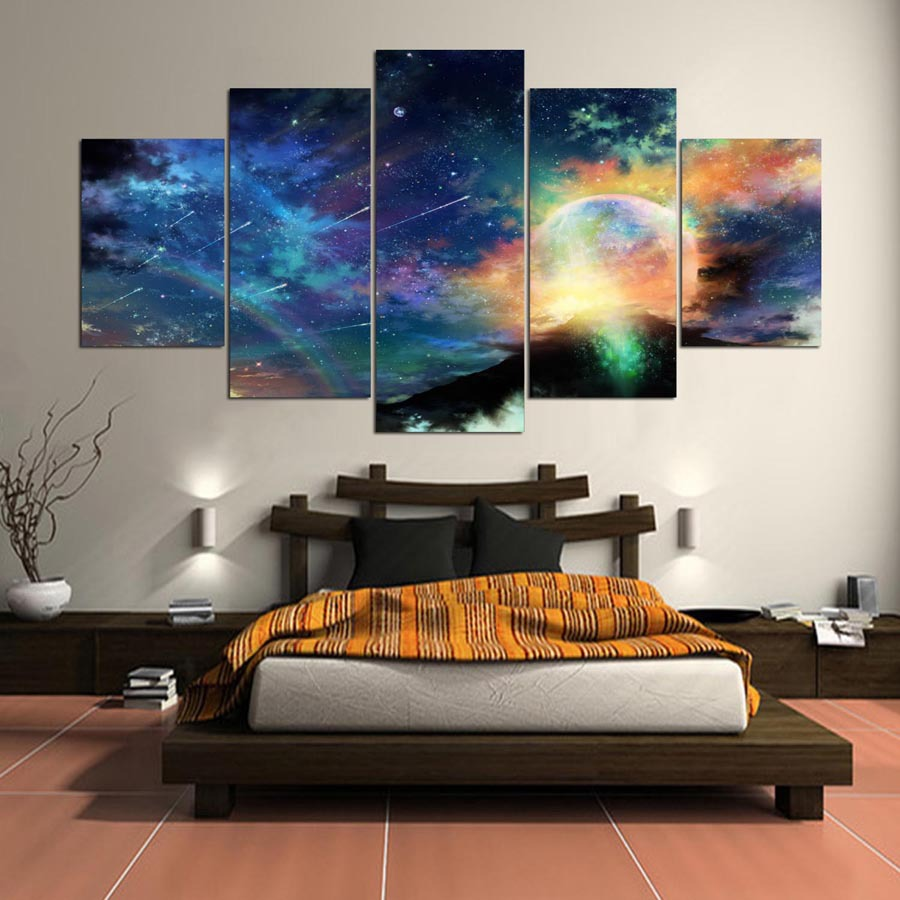 5 Cascade Colorful Cosmic Views Canvas Wall Painting P