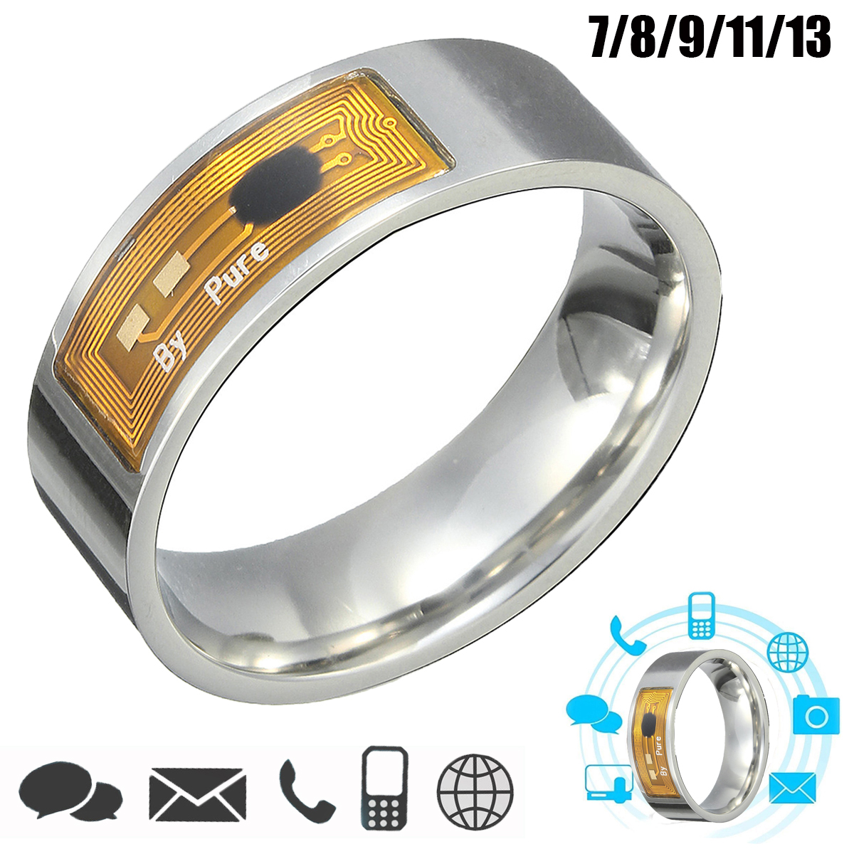 7/8/9/11/13 Size NFC Tag Smart Magic Finger Ring for Sa