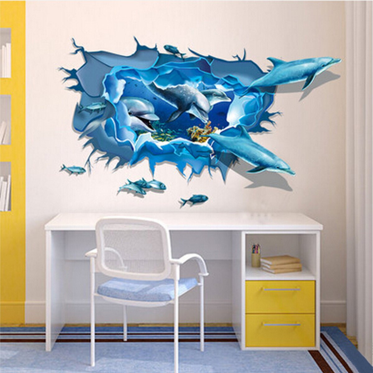 Dolphin 3D Sea Ocean Removable Mural Vinyl Wallpaper St
