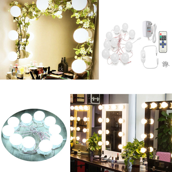 US Plug 3.6M Hollywood 10Bulbs Makeup Mirror Vanity Lig