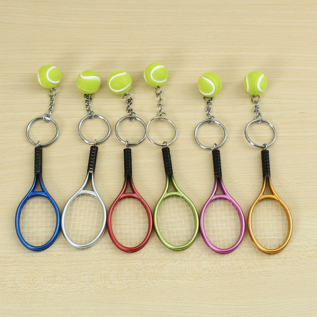 Multi-color Sport Tennis Ball Racket Key Chain Collecta