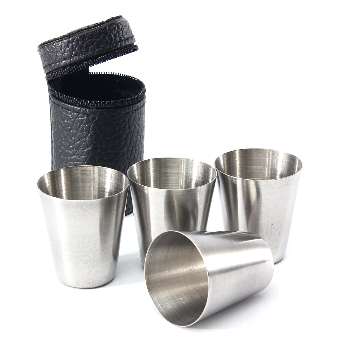 4Pcs Stainless Steel Camping Cup Mug Drinking Coffee Te