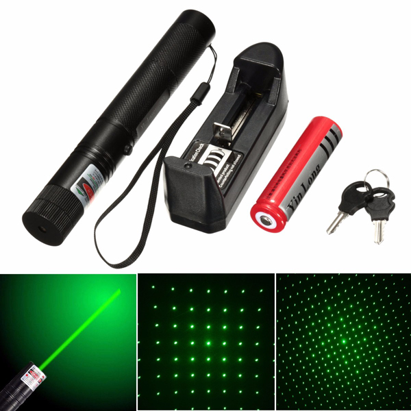 532nm 5mw Green Adjustable Laser Pointer With Star Cap+