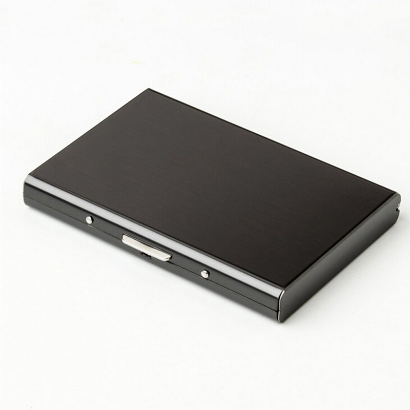 Card Holder Black Stainless Steel ID Credit Pocket Meta