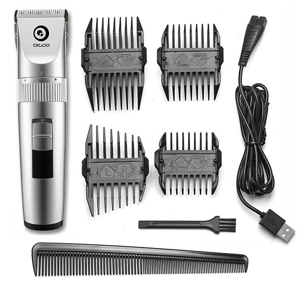 Digoo BB-T1 USB Ceramic X-Blade Hair Trimmer Rechargeable Hair Clipper 4X Extra Limiting Comb