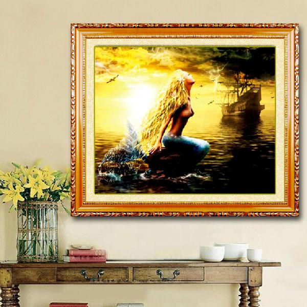 66x55cm 5D DIY Mermaid Diamond Painting Resin Rhineston