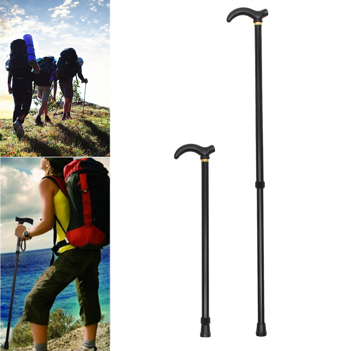 75-90CM Metal Walking Hiking Stick Travel Folding Cane