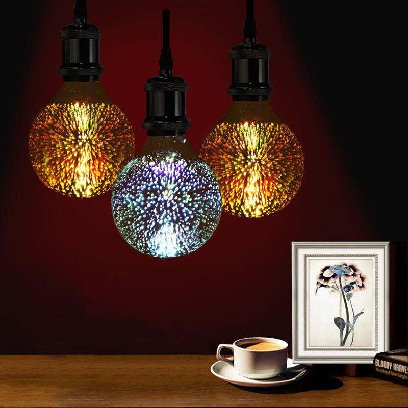 3D Fireworks E27 G80 LED Retro Edison Decorative Light