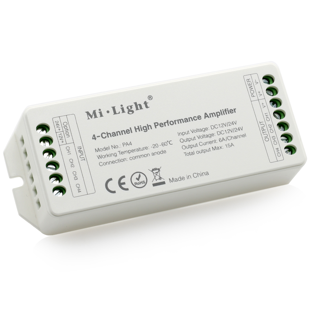 Mi Light DC12V-24V PA4 4-Channels RGB RGBW LED Amplifie