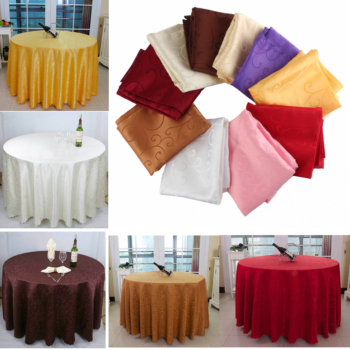200cm Polyester Absorbent Round Tablecloth For Hotel Re