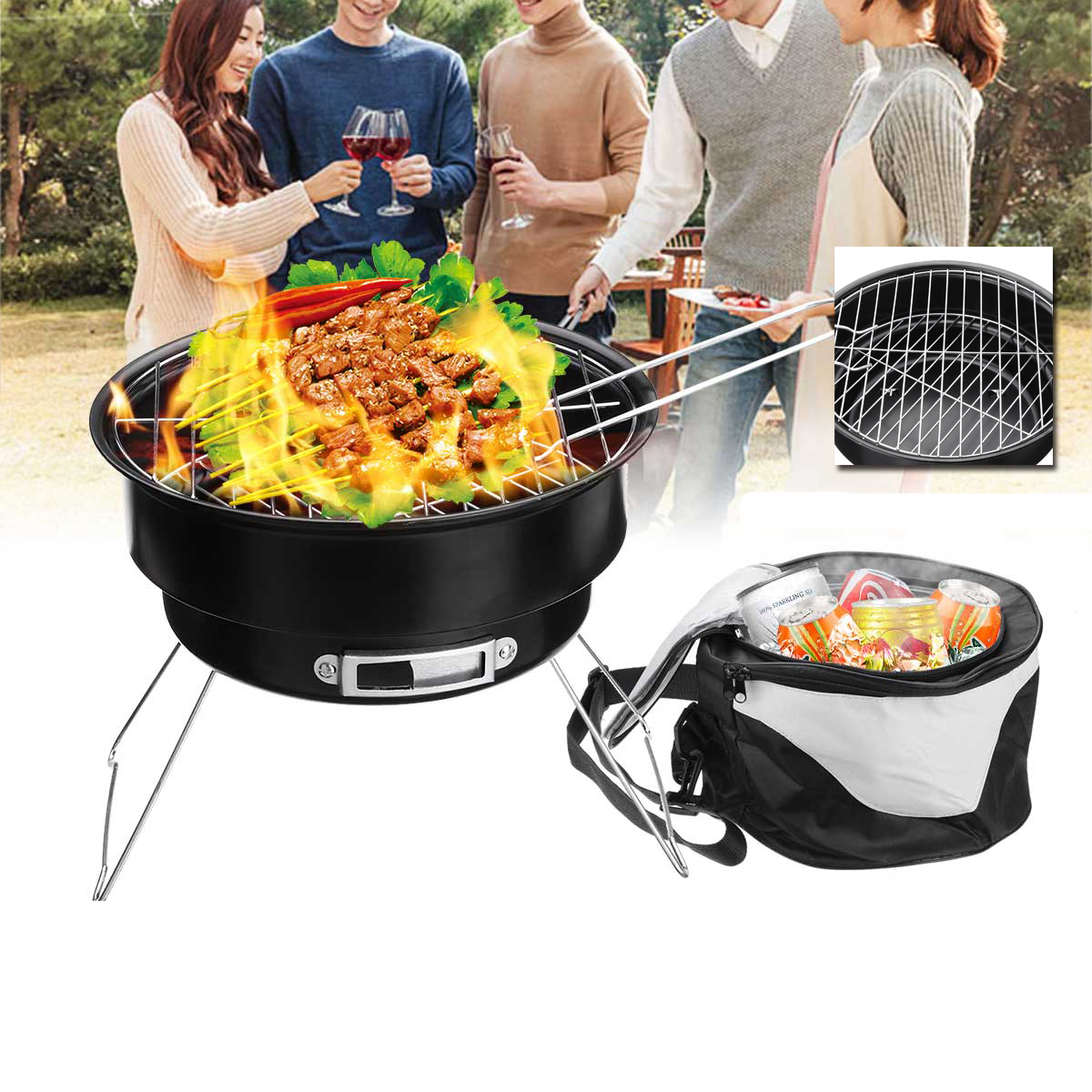 Other Camping & Outdoors - 2 In 1 Portable Barbecue Oven Folding BBQ Grill With Cooler Bag ...