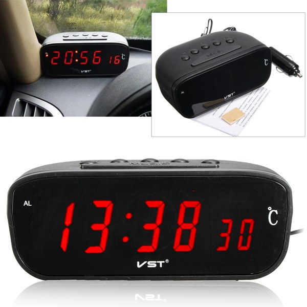 3 in 1 12V/24V LED Car Digital Alarm Clock Thermometer