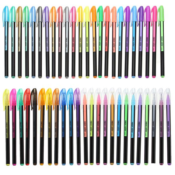 48 Pcs Color Gel Pen Set Adult Coloring Book Ink Pen Dr