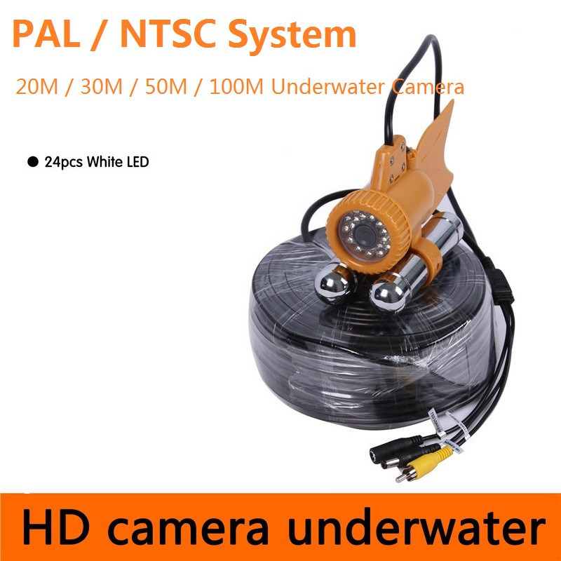 CR-006A PAL NTSC Underwater Camera 24Pcs White LED Double Rod for Fishing Fish Finder Camera
