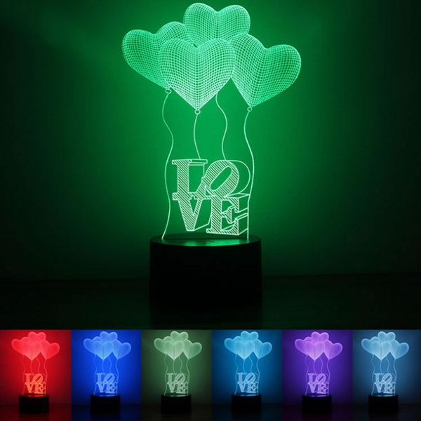 Colorful Heart Balloon 3D Touch Control USB LED Desk Ta