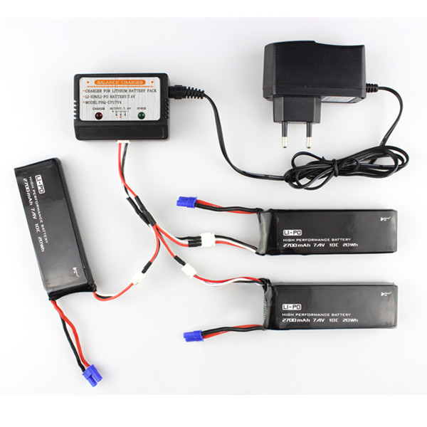 3 x 7.4V 2700mAh 10C Battery & Charger Set for Hubsan H