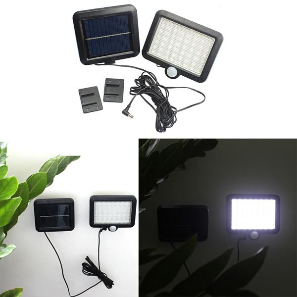 6W Solar Powered 56 LED PIR Motion Sensor Wall Light O